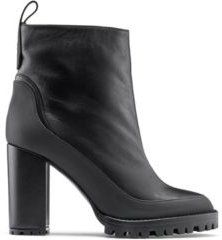 BOSS - Block Heel Booties In Nappa Leather With Rubber Lug Sole - Black