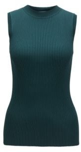 HUGO BOSS - Sleeveless Knitted Top With Ribbed Structure And Mock Neckline - Dark Green