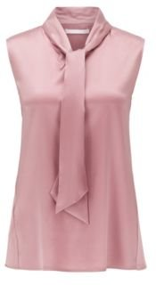 HUGO BOSS - Sleeveless Top In Stretch Silk With Tie Neck - light pink