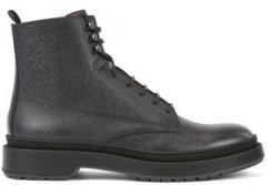 HUGO BOSS - Lace Up Boots In Scotch Grain Leather With Contrast Lug Sole - Grey