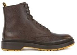 HUGO BOSS - Lace Up Boots In Scotch Grain Leather With Contrast Lug Sole - Brown