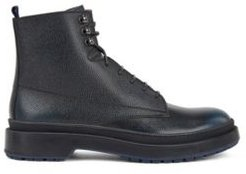 HUGO BOSS - Lace Up Boots In Scotch Grain Leather With Contrast Lug Sole - Blue