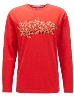 HUGO BOSS - Regular Fit T Shirt With Chinese New Year Graphic - Red