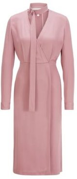 HUGO BOSS - Long Sleeved Twill Dress With Detachable Bow Tie Detail - light pink