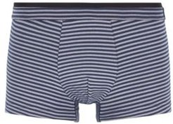 HUGO BOSS - Striped Trunks In Stretch Jersey With Layered Waistband - Dark Blue