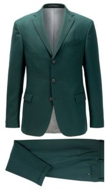 HUGO BOSS - Slim Fit Suit With Three Button Jacket - Open Green