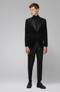 HUGO BOSS - Slim Fit Dinner Jacket With Silk Trims - Black