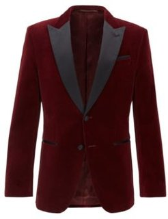 HUGO BOSS - Slim Fit Jacket With Silk Peak Lapels - Dark Red