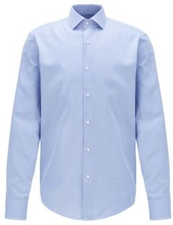 HUGO BOSS - Regular Fit Shirt In Cotton With Two Tone Micro Squares - Light Blue