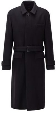 HUGO BOSS - Relaxed Fit Coat In Virgin Wool With Detachable Belt - Black