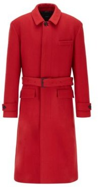 HUGO BOSS - Relaxed Fit Coat In Virgin Wool With Detachable Belt - Red
