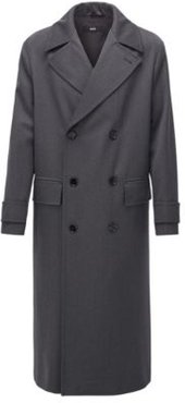 HUGO BOSS - Relaxed Fit Virgin Wool Coat With Double Breasted Closure - Open Grey