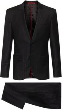 BOSS - Extra Slim Fit Wool Blend Suit With Metallic Stripes - Black