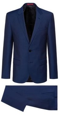 BOSS - Slim Fit Suit In Patterned Virgin Wool - Blue
