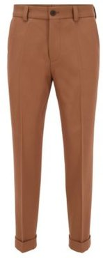 HUGO BOSS - Relaxed Fit Cropped Pants With Turn Ups - Beige