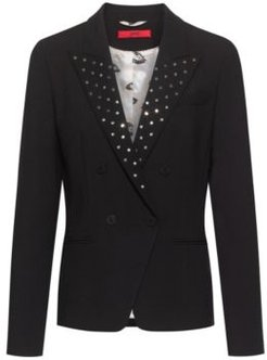 BOSS - Regular Fit Jacket In Stretch Fabric With Studded Lapels - Black