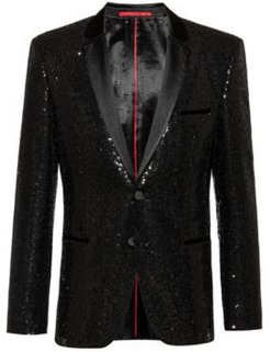 BOSS - Extra Slim Fit Evening Jacket With All Over Sequins - Black