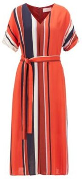 HUGO BOSS - Belted Dress With Block Stripes In Italian Crepe - Patterned