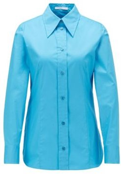 HUGO BOSS - Regular Fit Blouse In Paper Touch Stretch Cotton - Blue