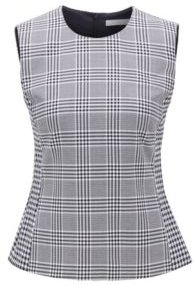 HUGO BOSS - Mixed Check Sleeveless Top In A Stretch Cotton Blend - Patterned