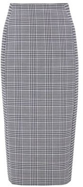 HUGO BOSS - Mixed Check Pencil Skirt In A Stretch Cotton Blend - Patterned