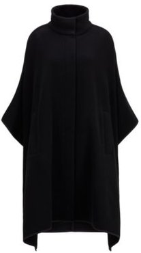 HUGO BOSS - Oversized Fit Poncho In A Felted Wool Blend - Black