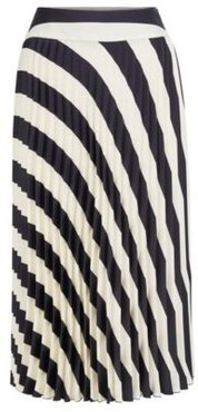 HUGO BOSS - A Line Pleated Skirt With Block Stripe Print - Patterned