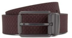 HUGO BOSS - Reversible Belt With Plain And Monogrammed Sides - Dark Red