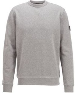 HUGO BOSS - Relaxed Fit Sweatshirt In Cotton Terry With Sleeve Logo - Light Grey