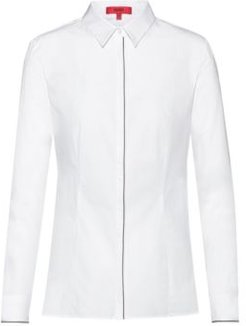BOSS - Slim Fit Blouse In Stretch Cotton With Piping Details - White