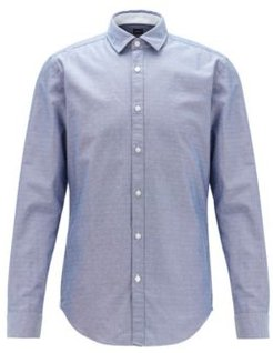 HUGO BOSS - Slim Fit Shirt In Dobby Cotton With Contrast Trims - Dark Blue