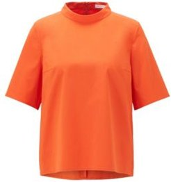 HUGO BOSS - Regular Fit Top In Stretch Twill With Stand Collar - Orange