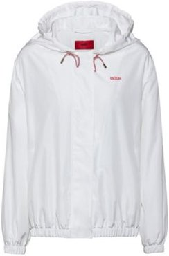 BOSS - Relaxed Fit Hooded Jacket With Reversed Logo Print - White