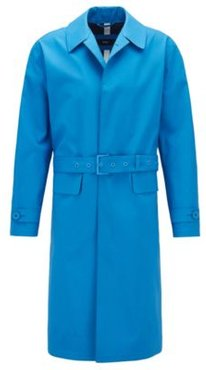HUGO BOSS - Relaxed Fit Coat With Concealed Closure In Cotton - Blue