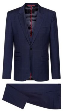 BOSS - Extra Slim Fit Three Piece Suit In Patterned Wool - Dark Blue