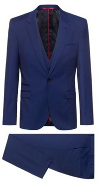 BOSS - Extra Slim Fit Three Piece Suit In Virgin Wool - Blue