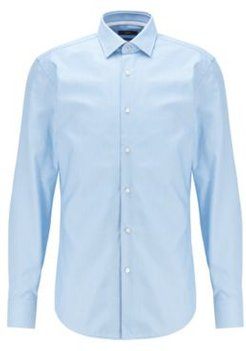 HUGO BOSS - Slim Fit Shirt In Structured Cotton With Kent Collar - Light Blue