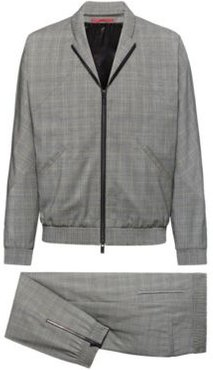 BOSS - Slim Fit Suit In Checked Wool With Zipped Jacket - Open Grey