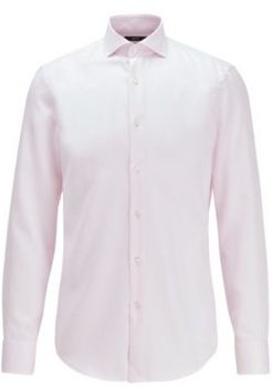 HUGO BOSS - Slim Fit Shirt In Structured Cotton With Cooling Finish - light pink