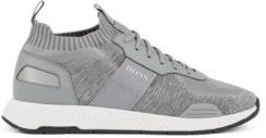 HUGO BOSS - Running Style Sneakers In Mixed Materials With Knitted Sock - Light Grey