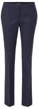 HUGO BOSS - Regular-fit pants in patterned wool with front crease - Patterned