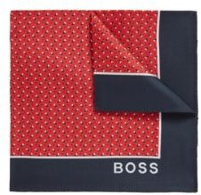 HUGO BOSS - Printed Pocket Square In Pure Silk - Red