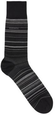 HUGO BOSS - Regular Length Striped Socks In A Mercerized Cotton Blend - Black