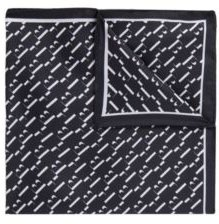 HUGO BOSS - Patterned Pocket Square In Pure Silk - Dark Blue