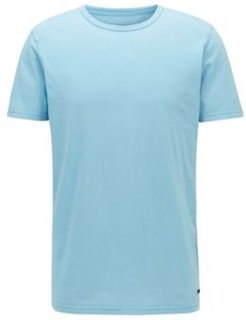 HUGO BOSS - Regular Fit T Shirt In Cotton With Sun Bleached Effect - Turquoise