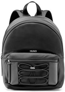 BOSS - Backpack In Nylon Twill With Drawstring Detail - Black