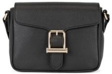 HUGO BOSS - Cross Body Bag In Grained Leather With Buckle Detail - Black