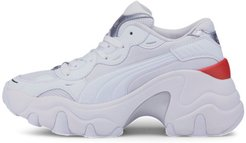 Pulsar Wedge Tech Glam Women's Sneakers in White/Silver, Size 8