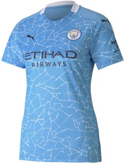 Manchester City FC Women's Home Replica Soccer Jersey in Team Light Blue/Peacoat, Size S