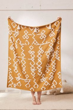 Geo Tufted Tassel Throw Blanket - Yellow at Urban Outfitters